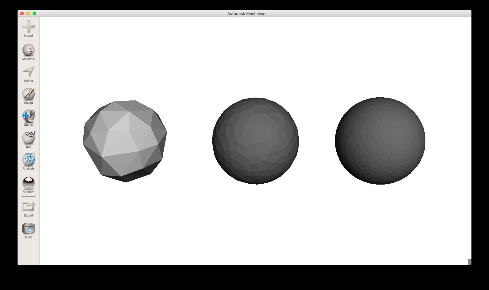 یک کره در سه کیفیت STL متفاوت