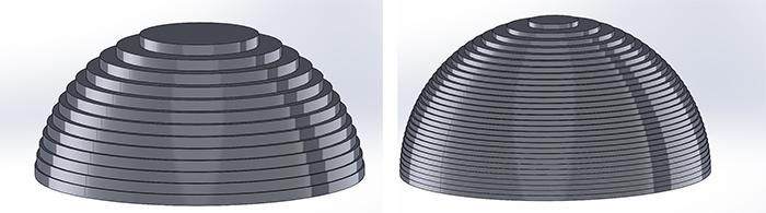 تفاوت ضخامت لایه پرینت سه بعدی در محور Z دیده می شود.