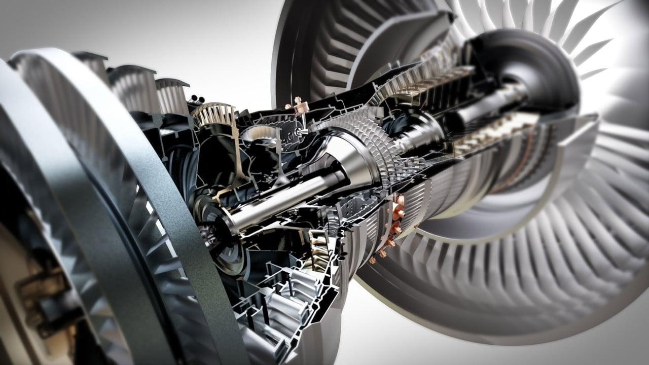 تصویر رندر سه بعدی از یک موتور توربین جت.
