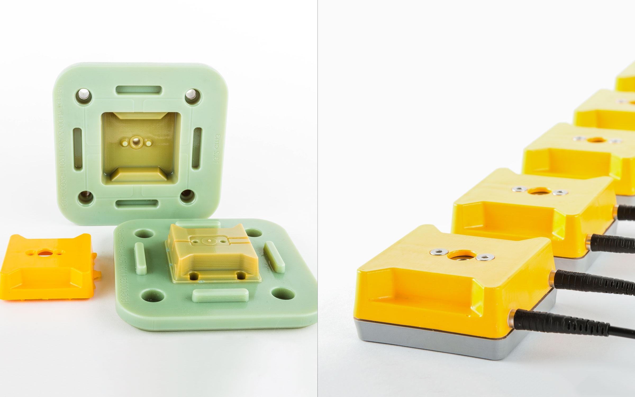 این قالب پرینت سه بعدی تزریق پلاستیک برای ساخت تعدادی محفظه سنسور استفاده شده است.(تصویر متعلق به Promolding)