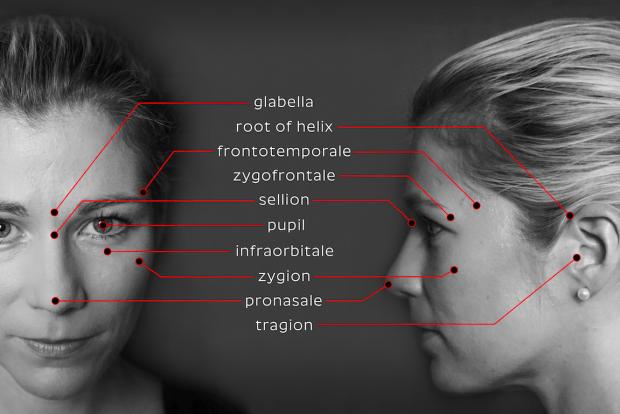 نمونه نقاط مشخص شده در صورت برای اسکن