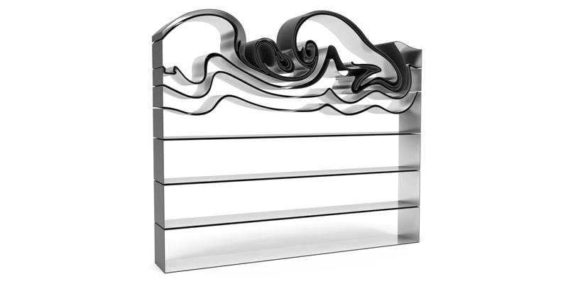 قفسه کتاب فرفری پرینت سه بعدی شده