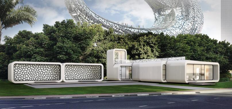 نمای بیرونی اولین ساختمان اداری پرینت شده در دبی