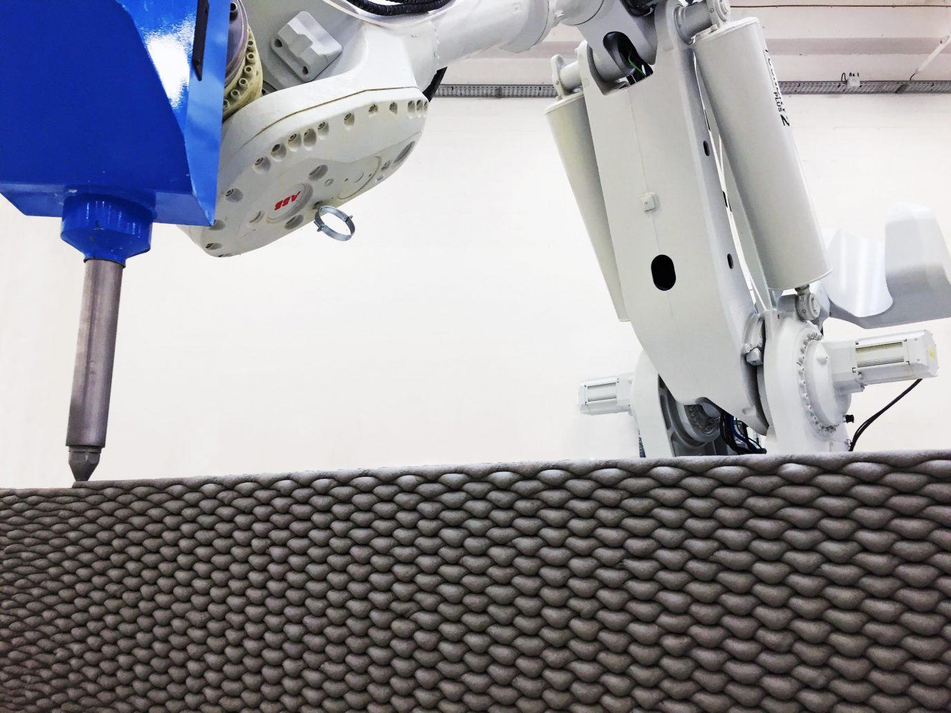 پرینتر سه بعدی در حال تولید بافت موجی شکل