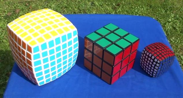 کوچکترین ابعاد مکعب روبیک در سایزهای مختلف