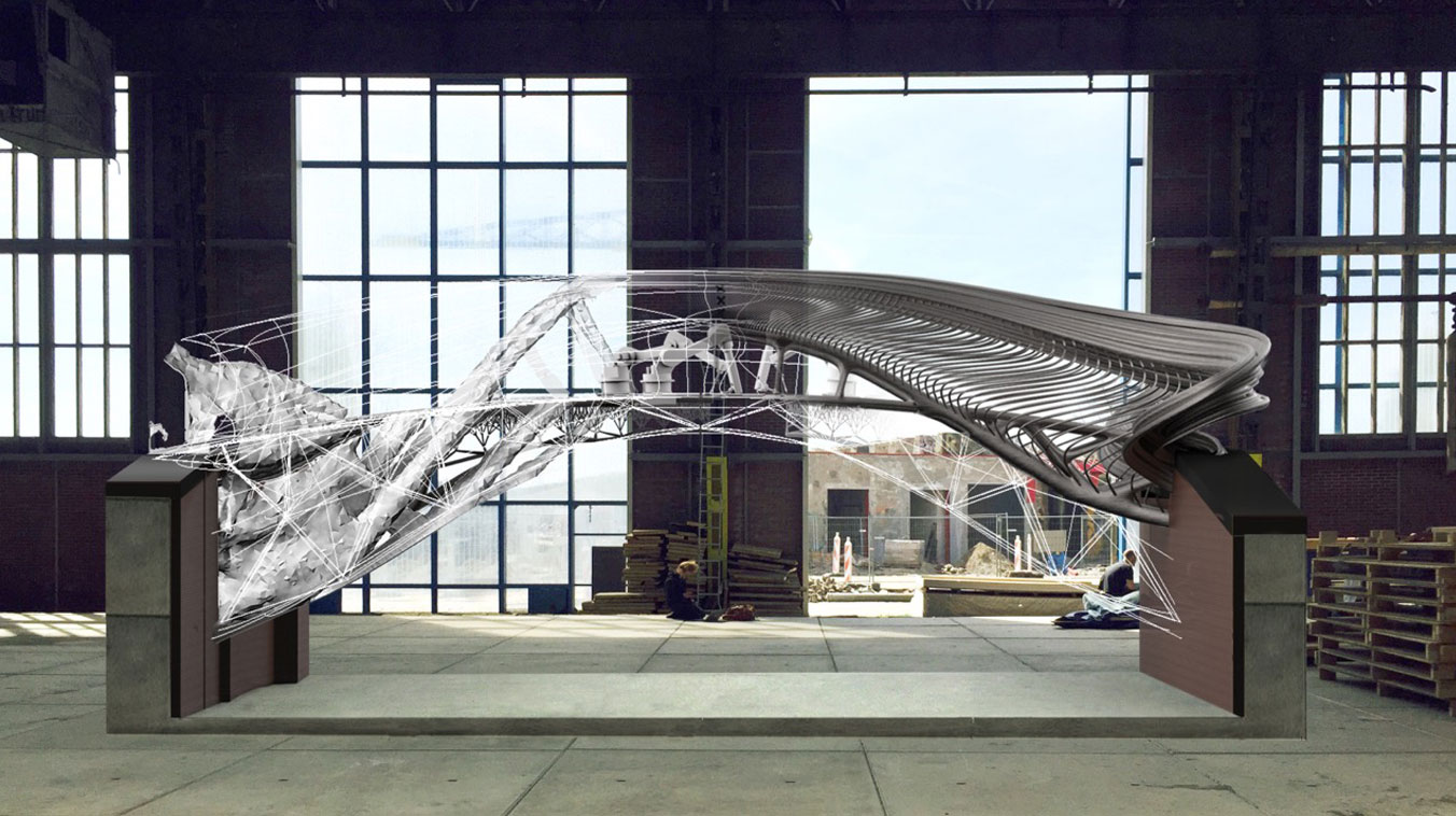 پرینت سه بعدی پل قبل از تکمیل شدن